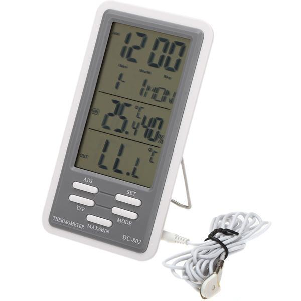 DC-802 LCD Digital Thermometer Hygrometer Temperature Humidity Meter Clock Indoor Outdoor With Wired External Sensor