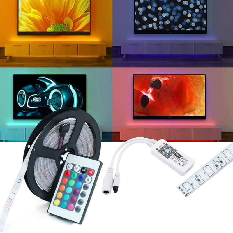 DC12V 5M SMD2835 24W Waterproof Alexa Smart Home WIFI Controller APP Control RGB LED Strip Light