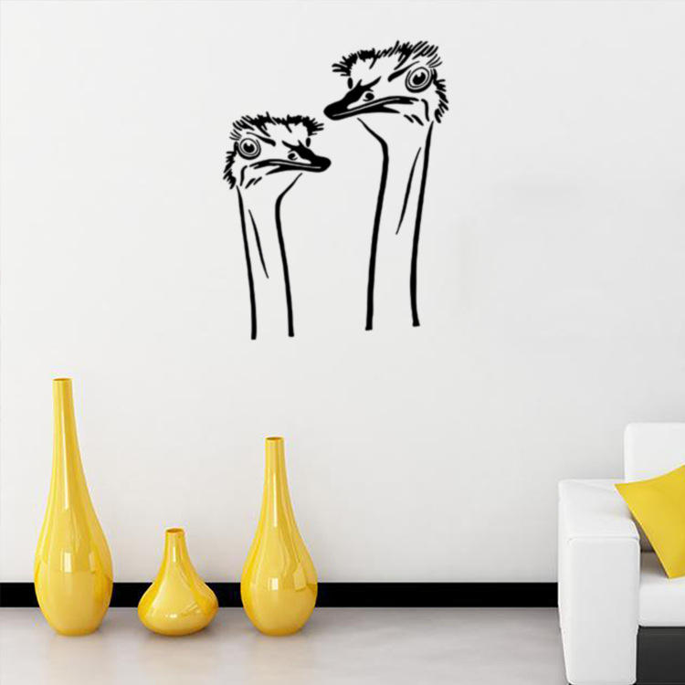 Honana A Pair Of Ostrich Head Diy Wall Sticker Removable Pvc Decal Poster Home Covering Decor Art Wallpaper Stickers Cod