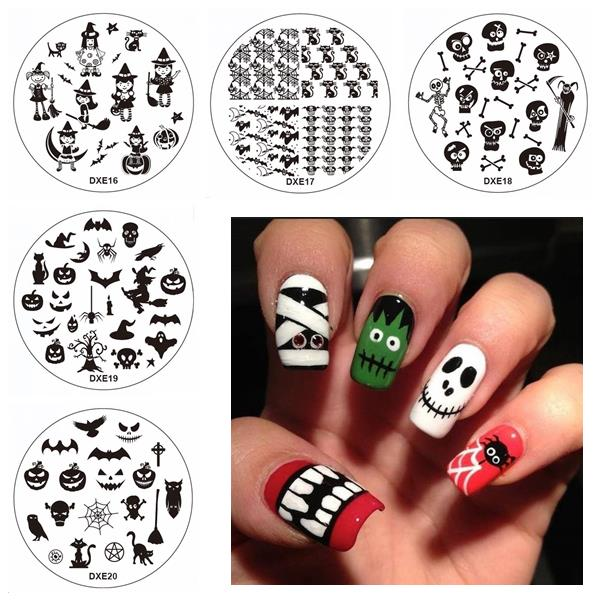 Halloween Nail Art Stamping Set Broom Owl Ghost Witch Diy Tips