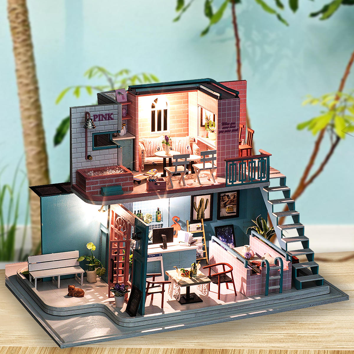 Handmade 3d Wooden Miniatures Doll House Pink Cafe Dollhouse