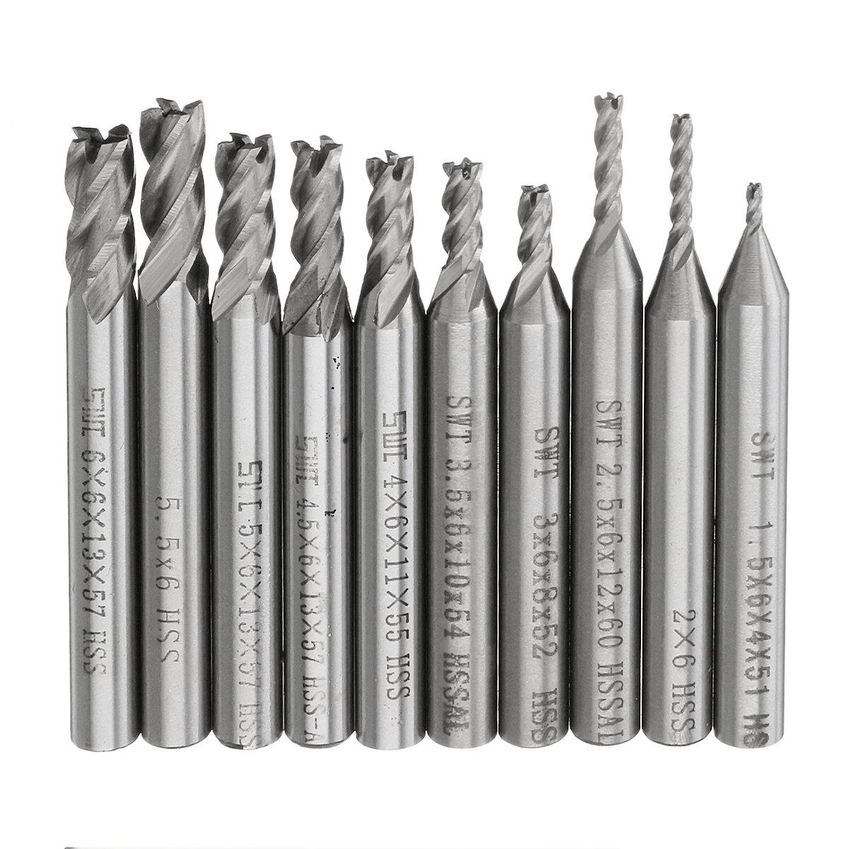 Drillpro 10pcs 1.5-6mm HSS 4 ขลุ่ยปลายมิลล์ตัด 6mm Straight Shank CNC เจาะ ชุดบิท