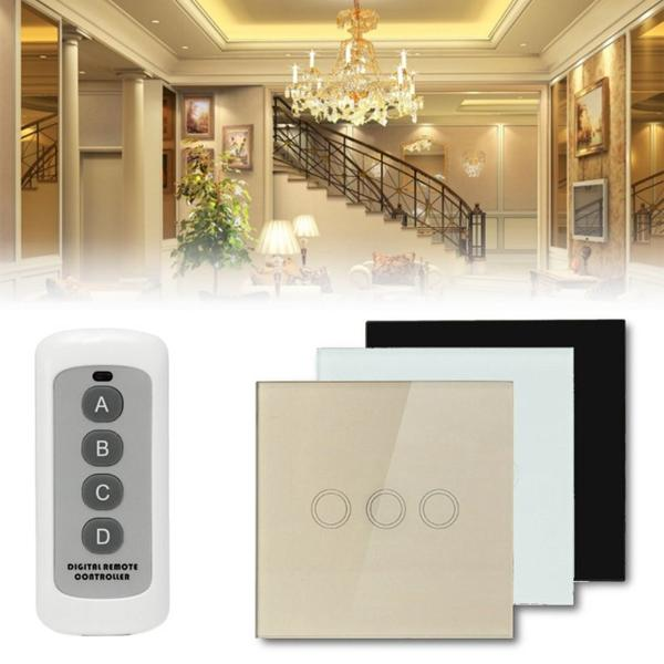 1 Way 3 Gang Crystal Glass Panel Touch Light Wall Switch Remote Controller  COD