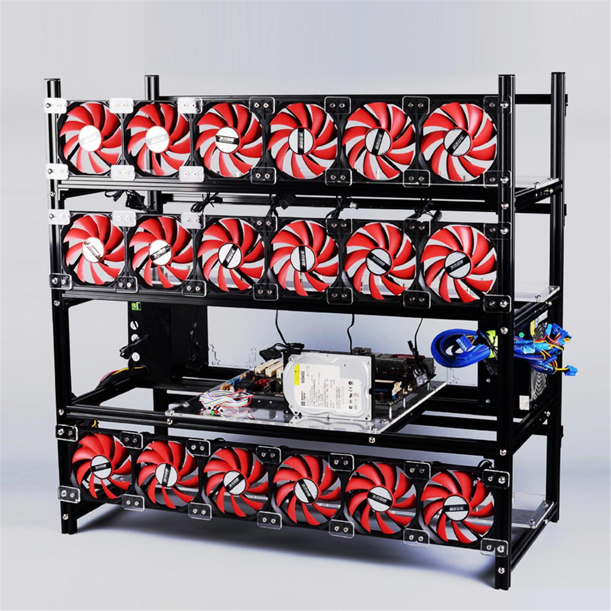 19 GPU Miner Frame Aluminum Stackable Open Air Mining Rig Case ETH BTC Ethereum