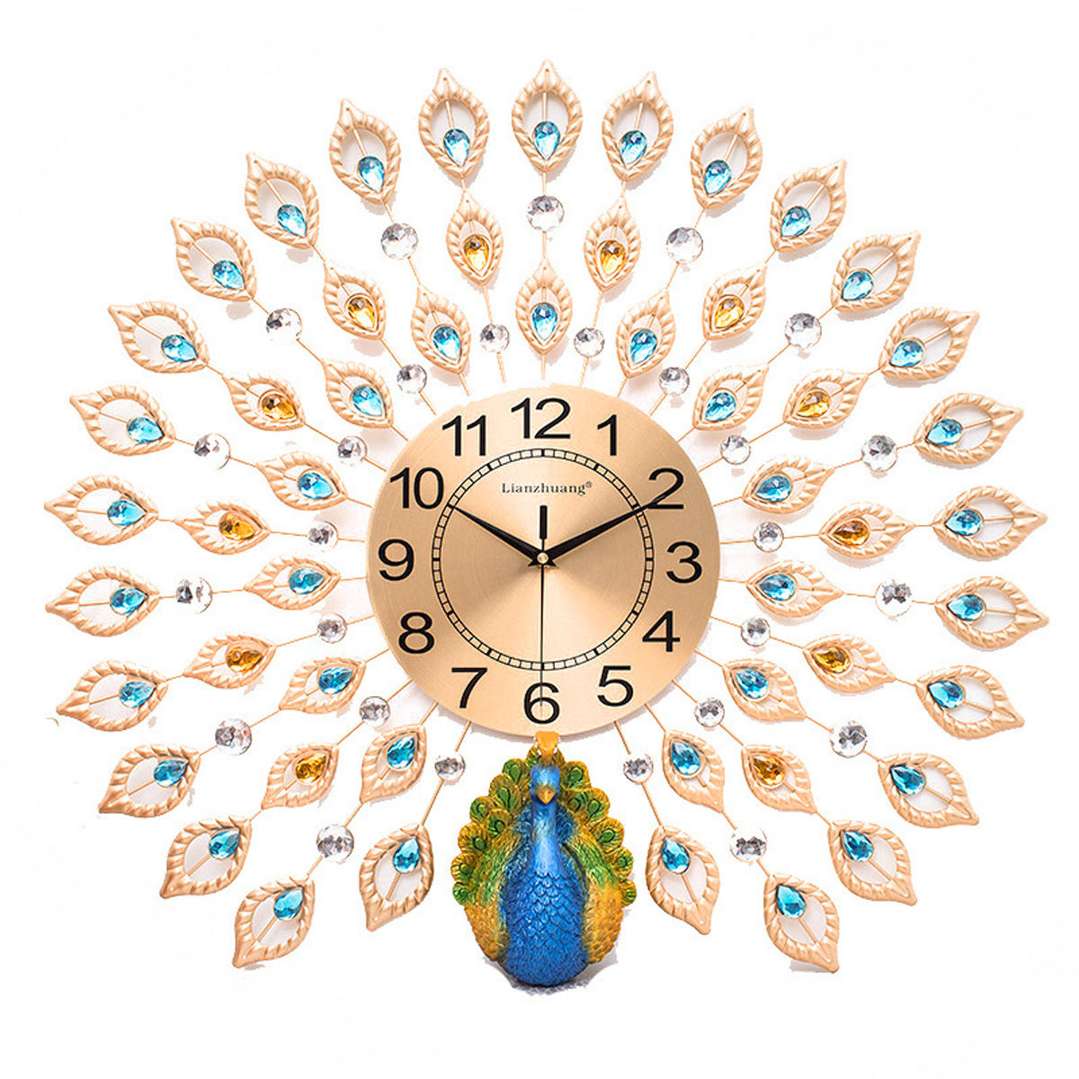 60x60cm 3d large big peacock wall clock living room bedroom house rh banggood com