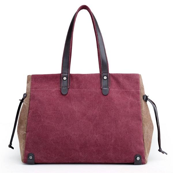 Women Quality Canvas Casual Large Capacity Color Block Tote Bag Handbag