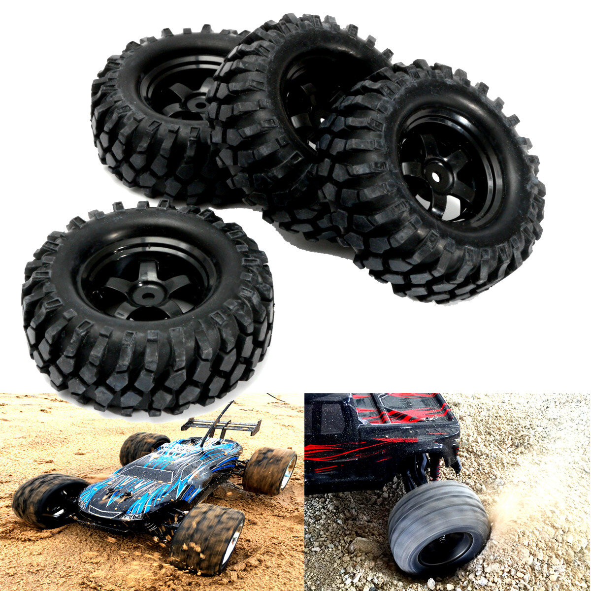 4PCS 1/10 12mm fuori strada veicolo pneumatici ruote cerchioni complete remoto Parte auto di controllo