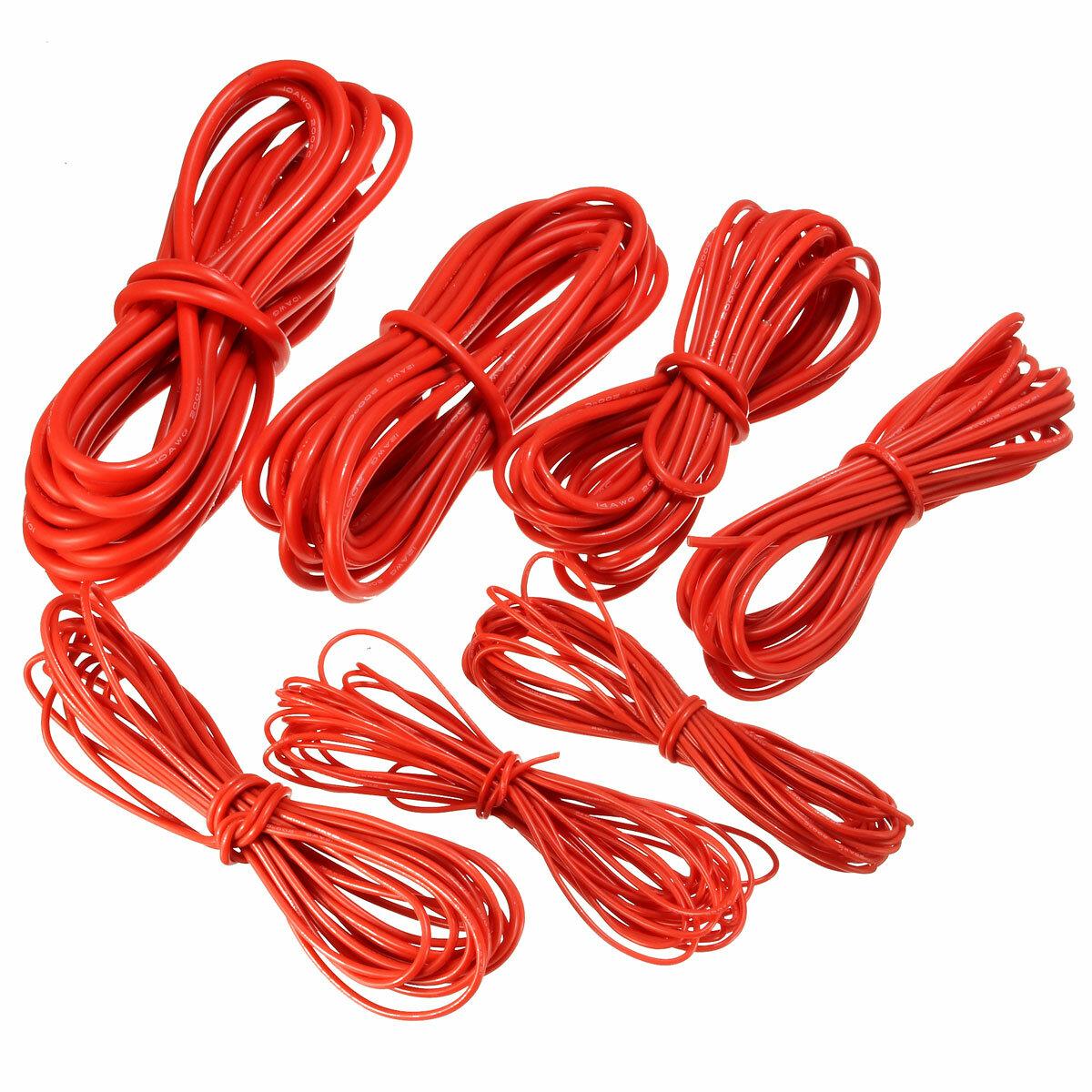 DANIU  5 Метр Красный силиконовый проводной кабель 10/12/14/16/18/20 / 22AWG Гибкий кабель