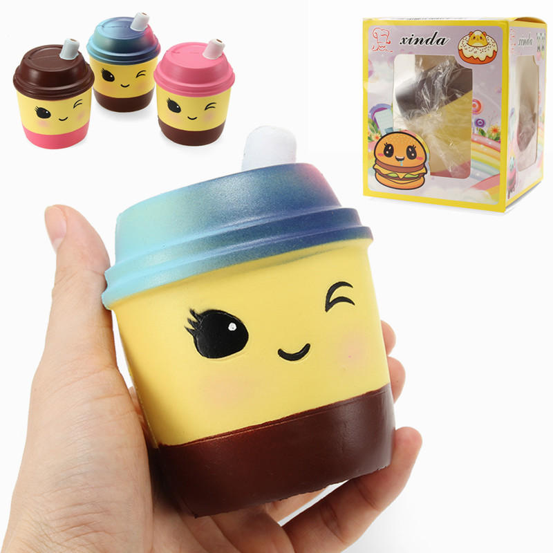 Xinda Squishy 밀크 티 컵 10cm 소프트 천천히 상승 포장 컬렉션 선물 장식 장난감