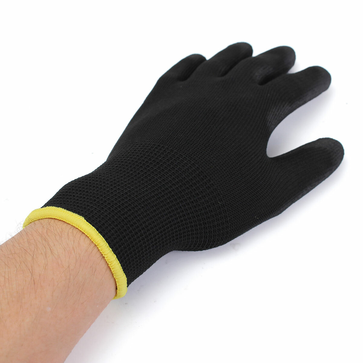 12 Pairs Black PU Safety Work Glove Builders Protect Palm Coating Gloves S/M /L Option