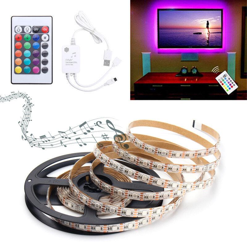 0.5M/1M/1.5M/2M/3M/4M Music Sound Activated Waterproof RGB 5050 LED Strip Light Kit DC5V