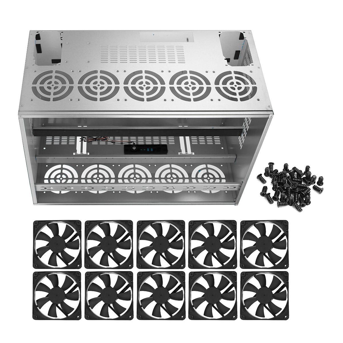 Crypto Coin Open Air Mining Frame Rig Graphics Case For 10-12 GPU ETH BTC With Fan