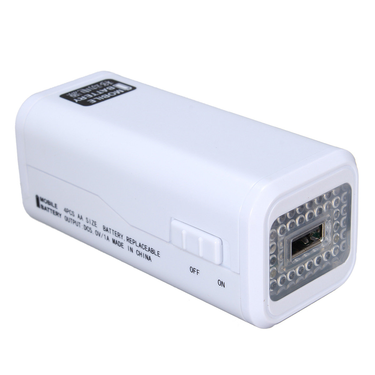 AA 5 Battery Emergency Power Supply with LED Light Single USB Emergency Power Bank