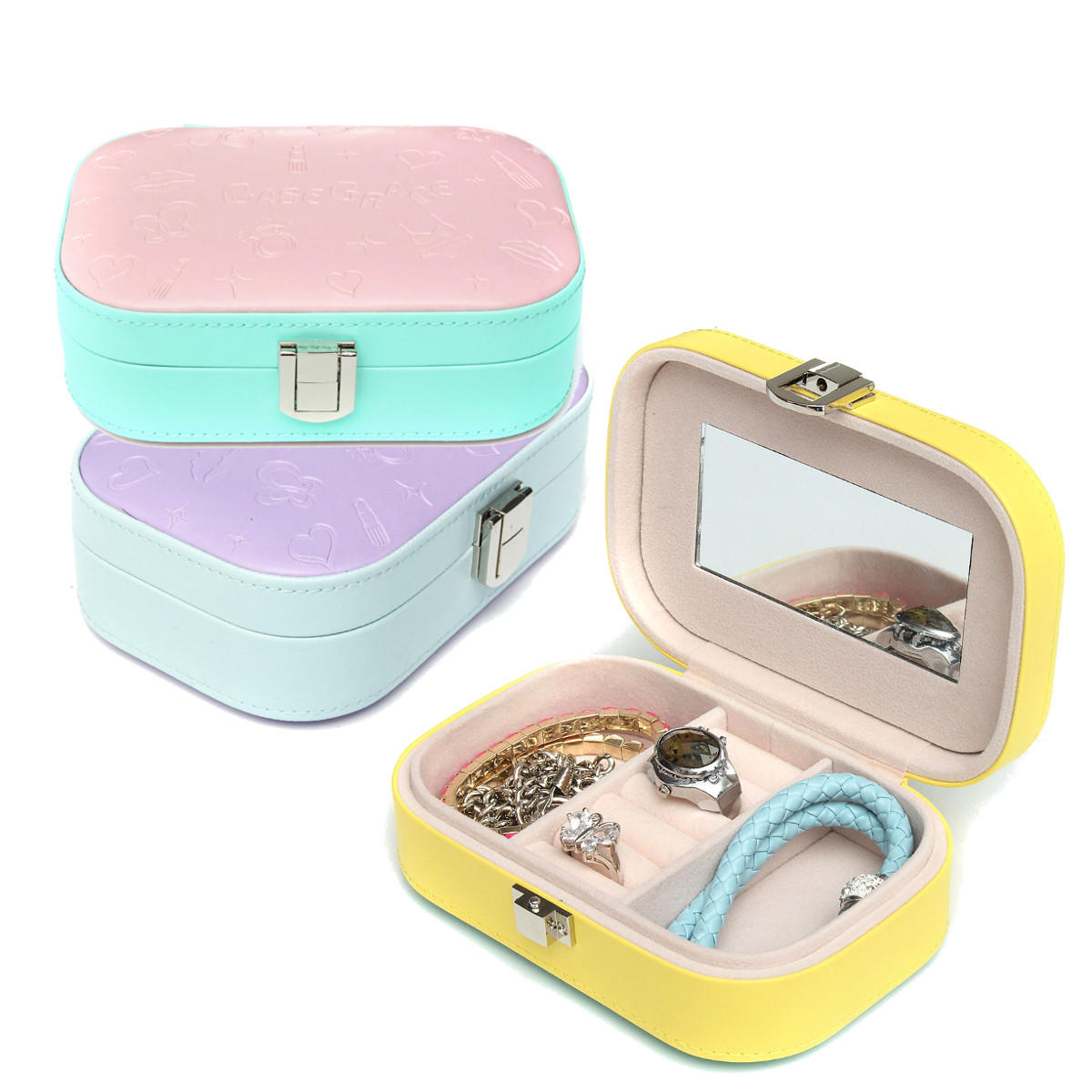 PU Leather Earrings Ring Necklace Jewelry Storage Box Organizer Case