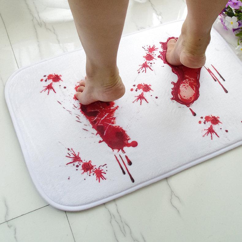 할로윈 공포 혈액 발자국 비 - 슬립 플로어 매트 욕실 주방 침실 현관 카펫 장식