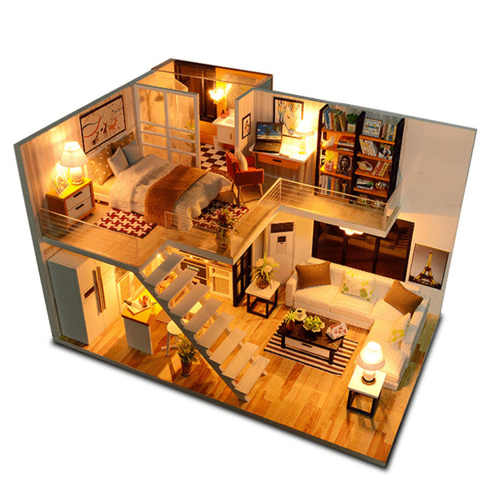 Loft Apartments Miniature Dollhouse Wooden Doll House