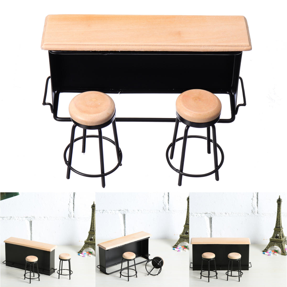 Doll House Miniature Taproom Bar Counter With Two Stools 1 12 Scale Model Toys Cod