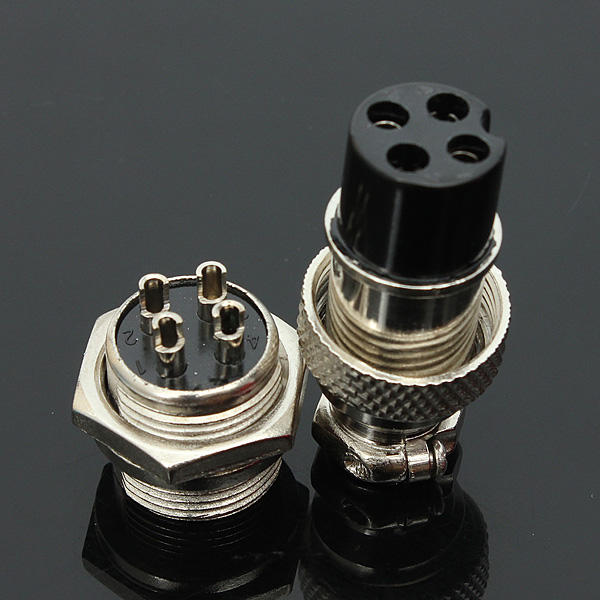 5Pcs GX16-4 4-Pin 16mm Aviation Pug Male and Female Panel Metal Connector