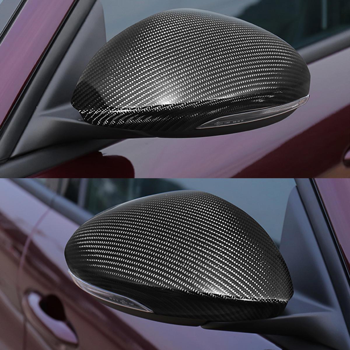 Pair Carbon Fiber Side Mirror Cover Cap For Alfa Romeo Giulia Umbrella Quadrifoglio 17 18