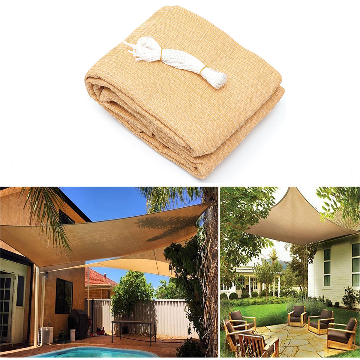3x3M/4M 280gsm HDPE UV Sun Shade Sail Cloth Canopy Outdoor Patio Square  Rectangle Awning
