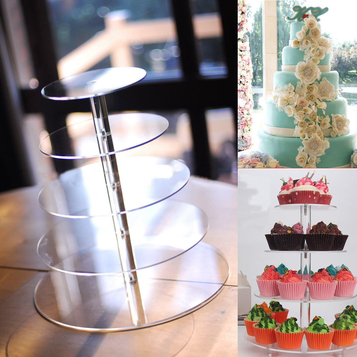 5 Tier Acrylic Cupcake Cake Stand Party Wedding Birthday Tower Display Holder Decorations COD