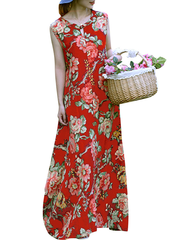 f8b0cc6353c Ethnic Style Sleeveless O-neck Button Floral Print Loose Hem Long Maxi Dress  COD