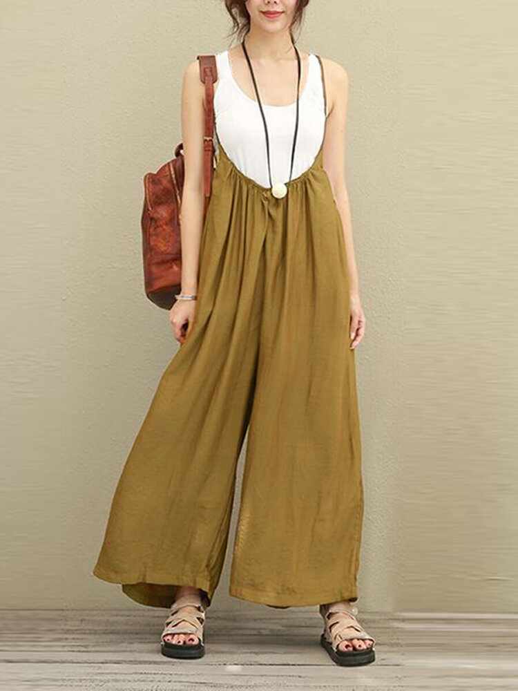 a65be26fa56e S-5XL Women Casual Sleeveless Strap Baggy Wide Leg Pant Jumpsuit Rompers COD