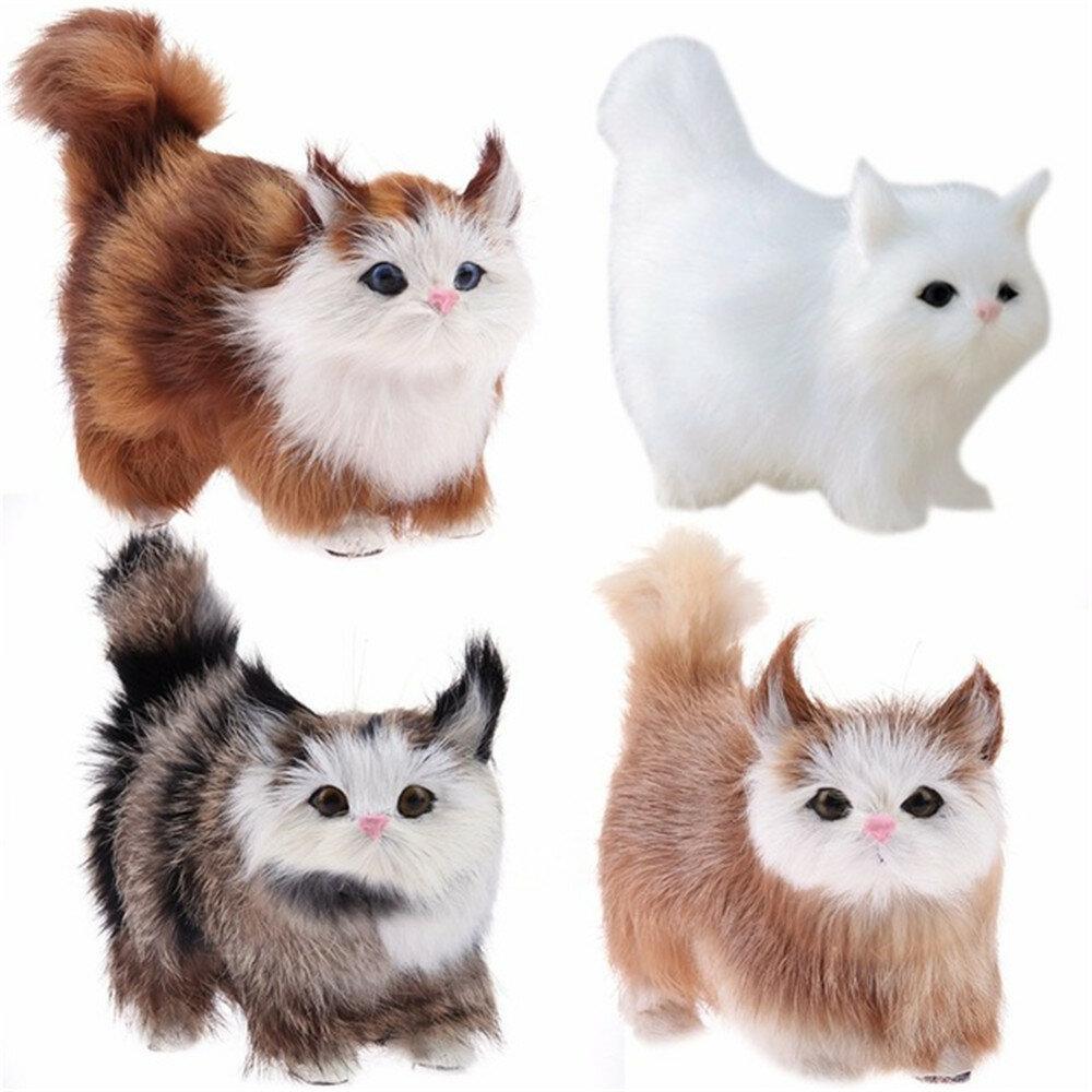 Lindo Gato Realista Miaow simulación Kitty peluche de juguete de peluche decoración del escritorio del hogar realista