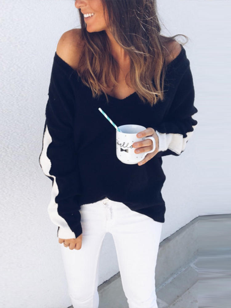 a9ee5e7249b753 women off shoulder stripe patchwork knit baggy sweaters at Banggood ...