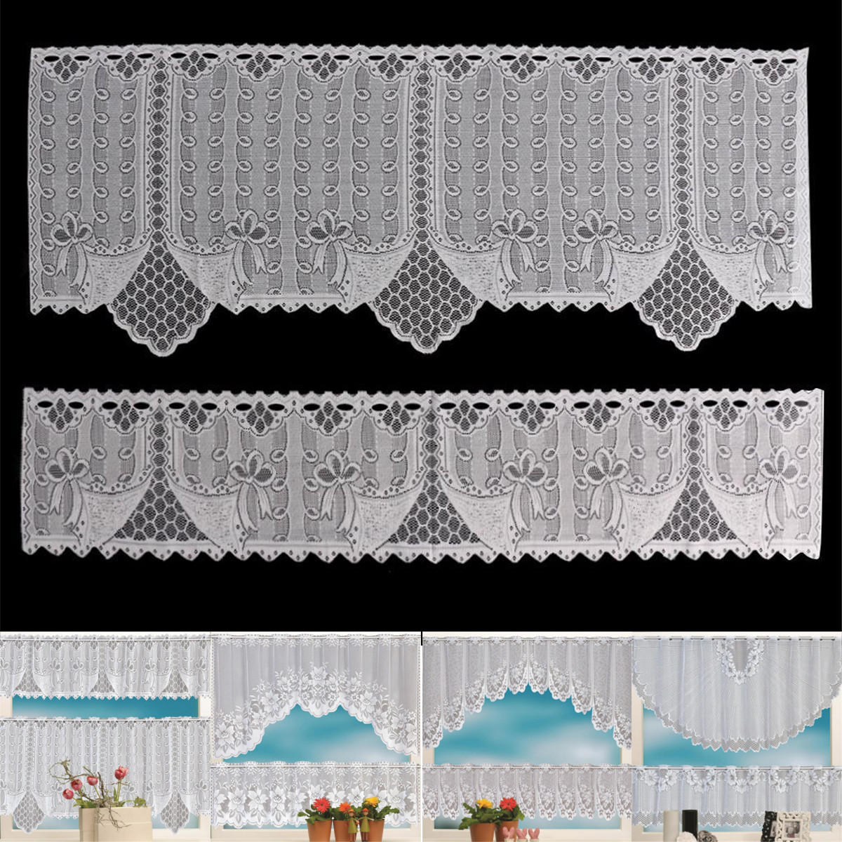 2PCS Lace Coffee Cafe Window Tier Curtains Kitchen Dining Room Home Decor Set COD