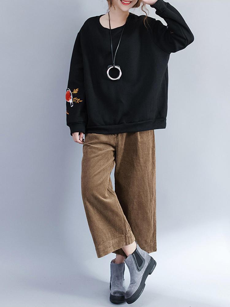 캐쥬얼 여성 자수 양털 스웨터