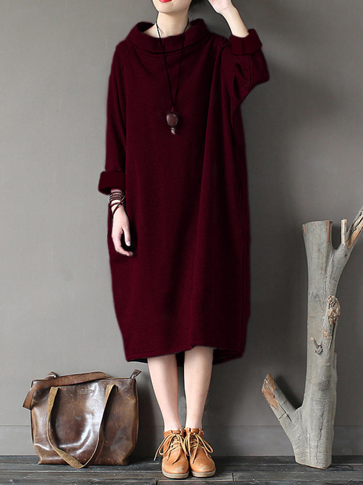 8f4cd79eaffa gracila casual loose solid color stand collar long sleeve women dresses at  Banggood sold out