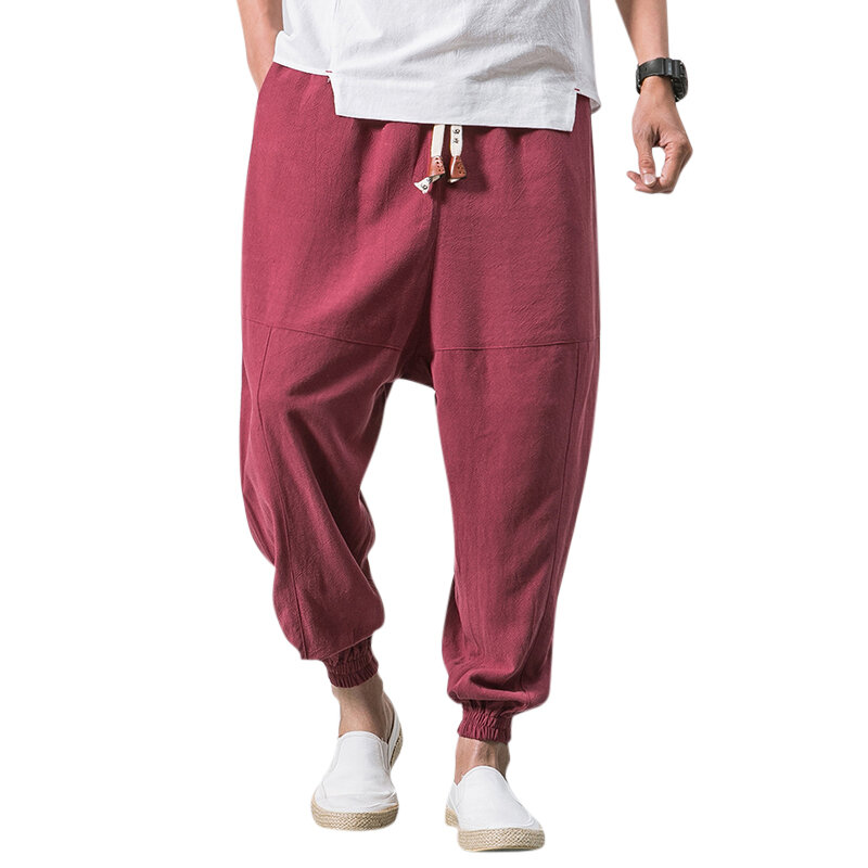 ad20d76b00 Men's Vintage Cotton Linen Loose Comfy Breathable Solid Color Casual Harem  Pants - Grey S COD