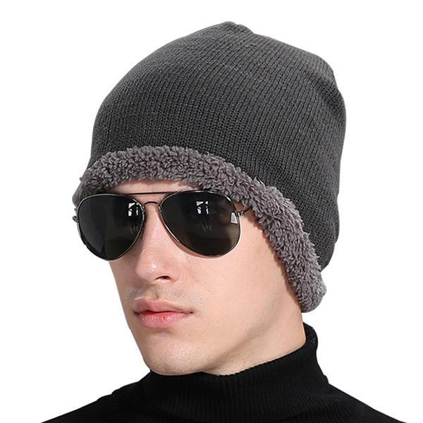 Mens Winter Plus กำไลข้อมือกำมะหยี่หมวกกระโปรงหมวกลำลอง