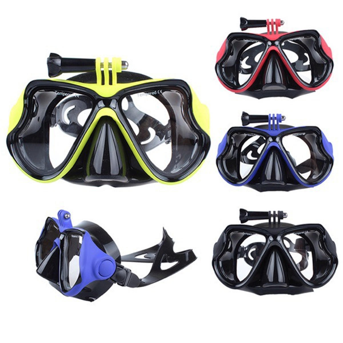 Diving Mask Scuba Snorkel Water Goggles Face Glasses Mount For GoPro Hero 4