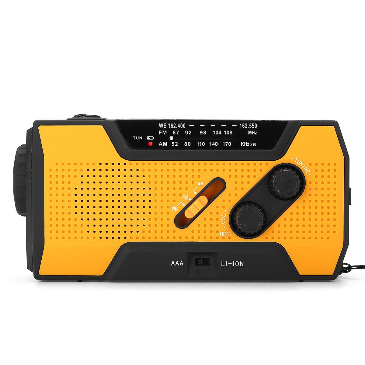 0afec2d16d6 Portable AM FM NOAA Radio Solar Crank Emergency Weather Flashlight  Rechargeable Power Bank for iPhone - Orange COD