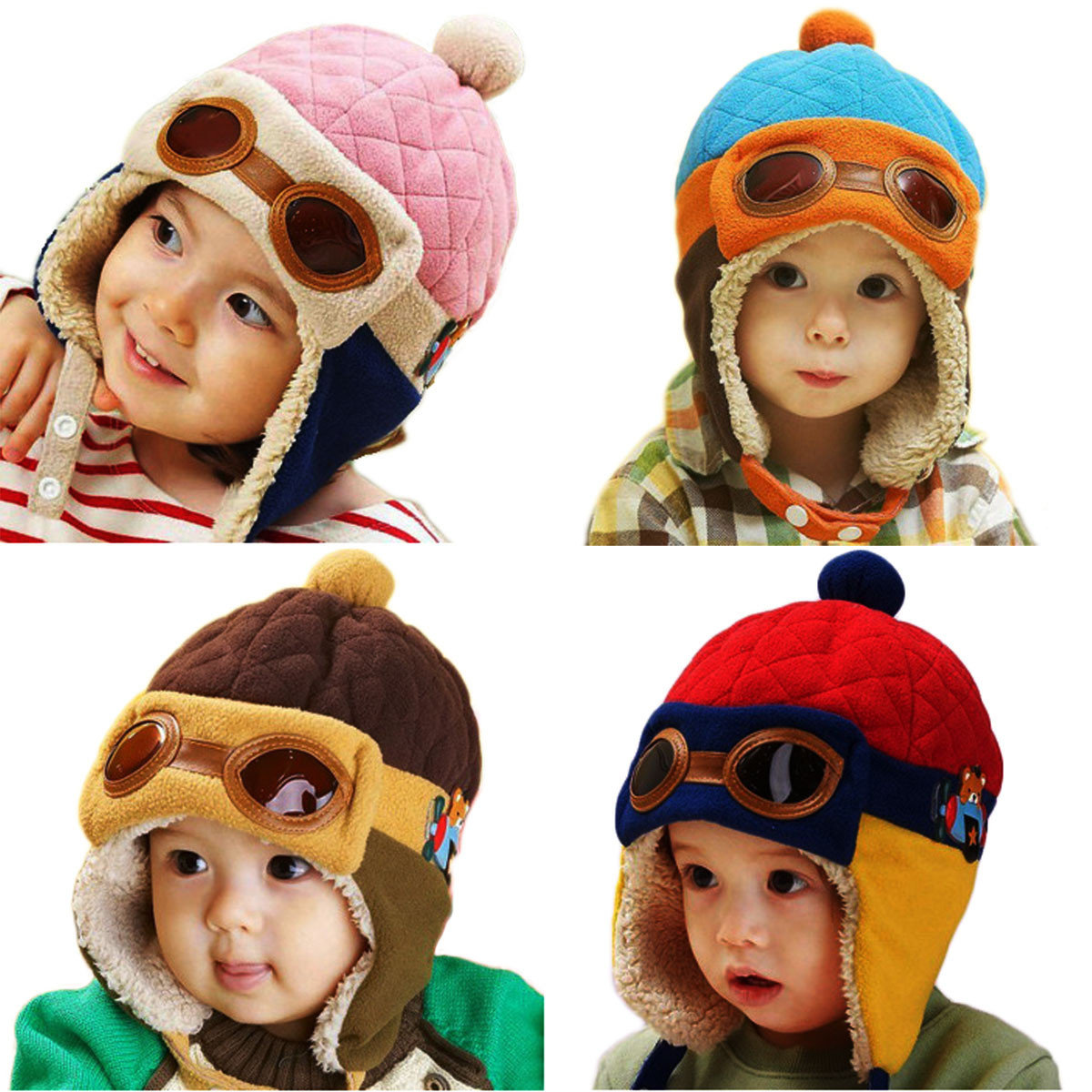 3e9f1ac02e0 winter unisex baby earmuff toddlers girl flight glasses boy kid pilot  aviator cap warm soft beanie earflap hat at Banggood sold out