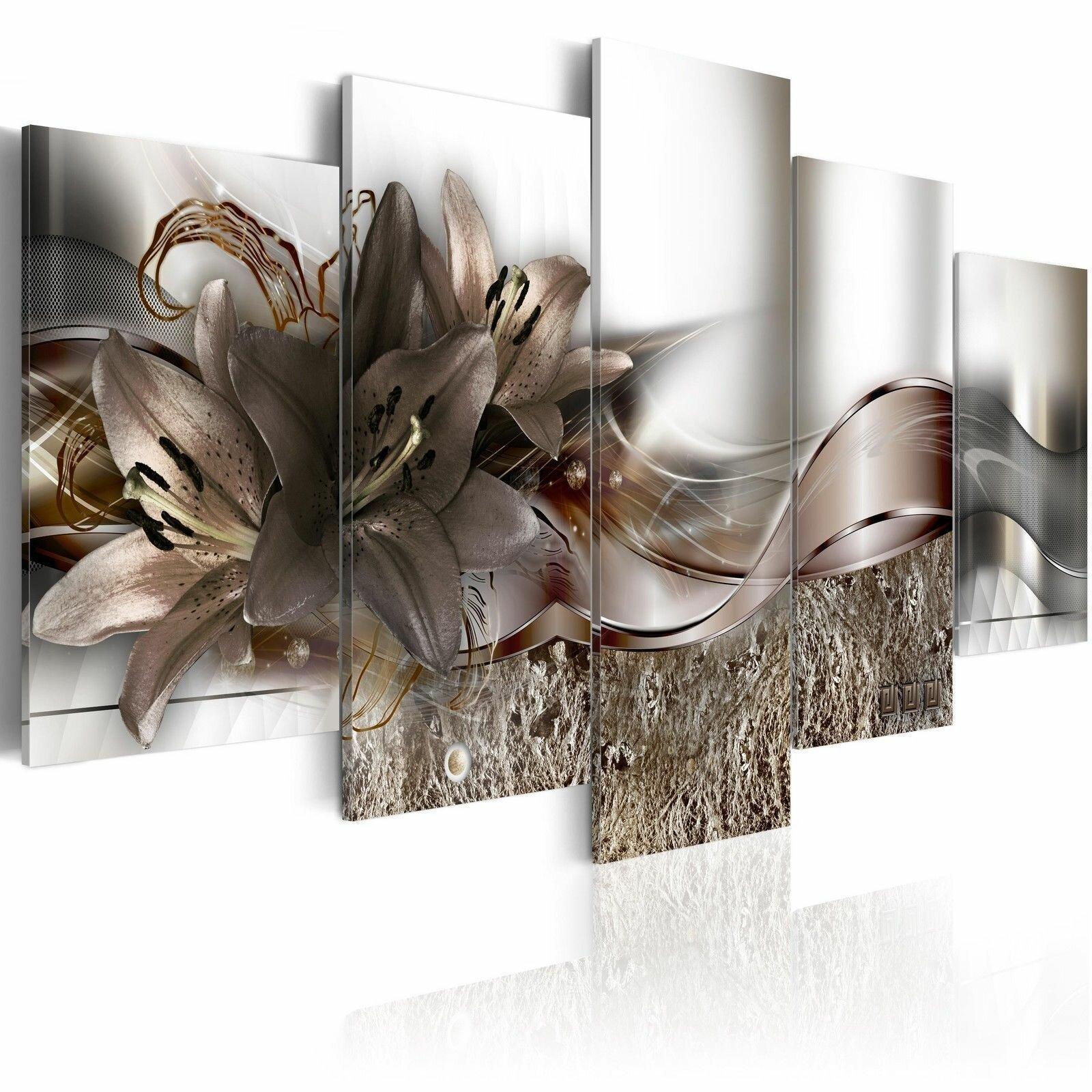 5 Panneaux Grandes Fleurs Abstraits Imprimer Photos Toile Wall Art Imprime Peintures Sans Cadre pour Décorations pour La Maison