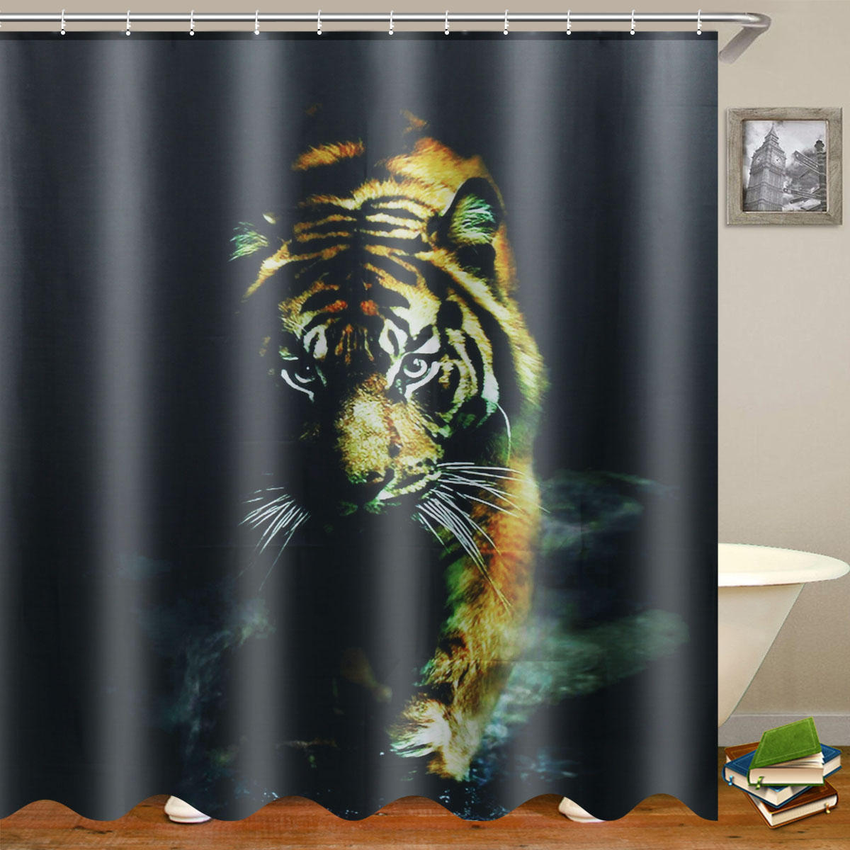"72""X 72"" Wildlife Animal Nature Decor Tiger Bathroom Decor Shower Curtain with Plastic Shower Hooks"