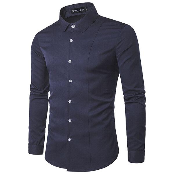 Hombres Moda Costura De Color Sólido Abajo Collar Blanco Casual Fit Camisa