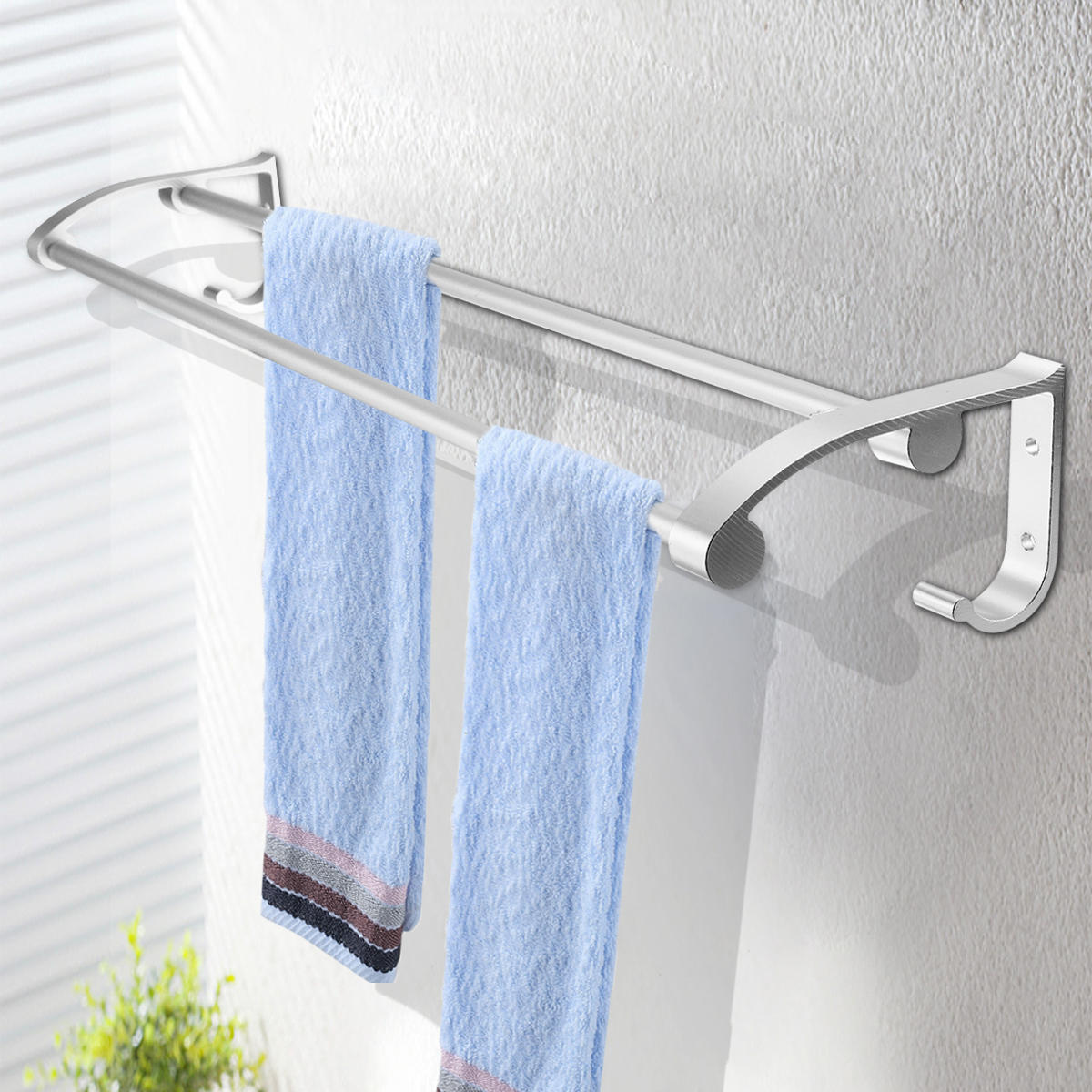 Double Towel Rail Holder Wall Mounted Bathroom Rack Shelf Stainless Steel NEW