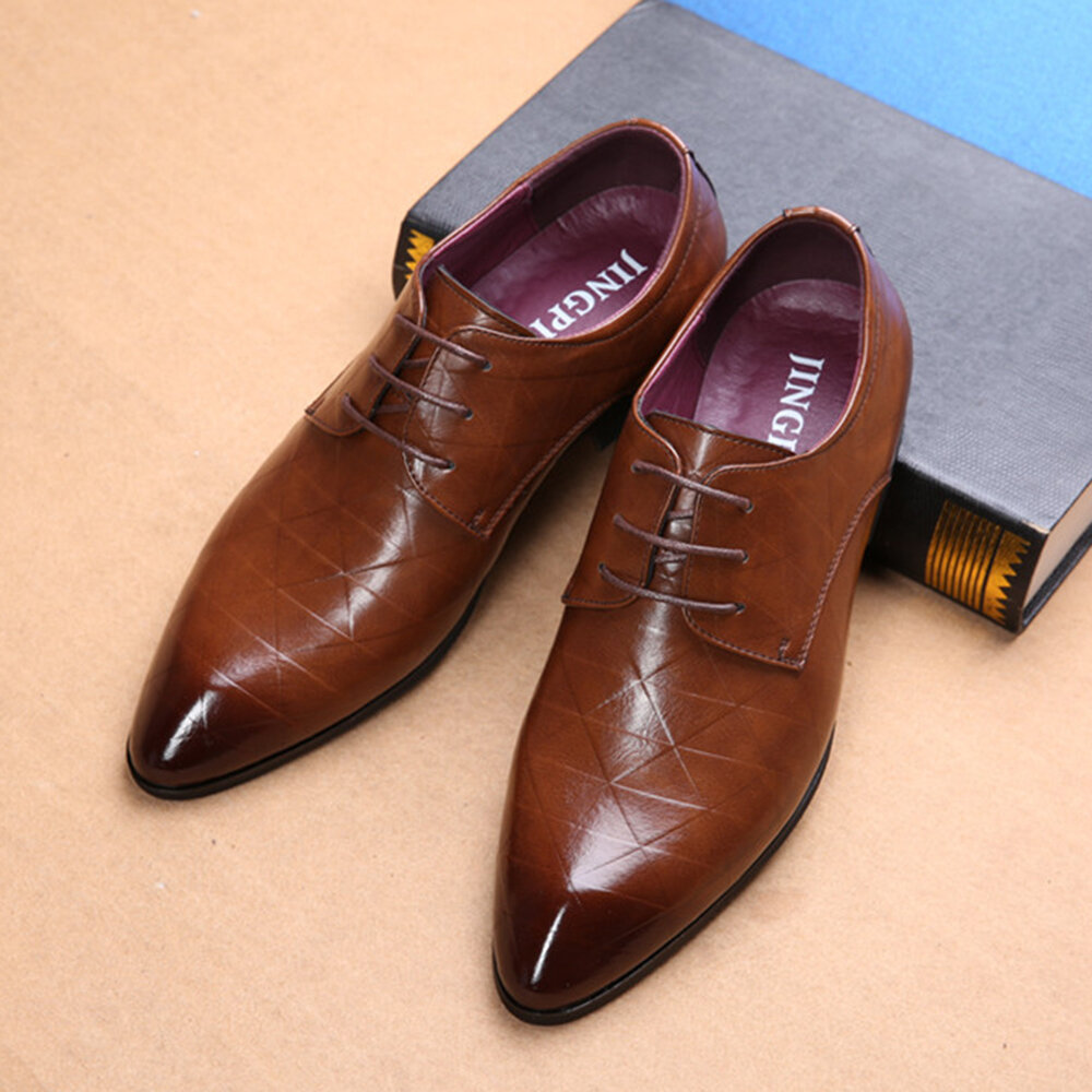 cbb898ecfd3 men comfy leather pointed toe business formal shoes at Banggood
