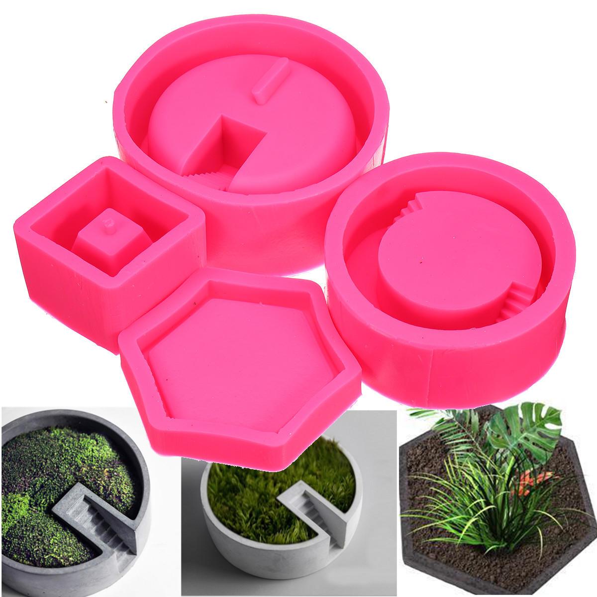 3D Silicona florero molde suculento Planta jarrón de hormigón DIY Craft molde decoración