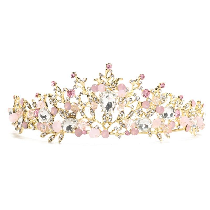 Pink svatební svatební křišťálový korunkový čelenka náušnice ... 971f0562da