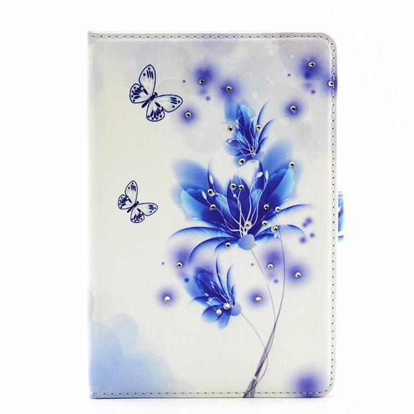 El plegado pu lujo de cuero parpadea el refugio del soporte del caso magnético de diamante de la iPad 4 mini