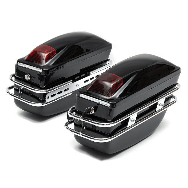 2pcs Cruiser Motorcycle Trunk W/Lights Keys Hard Saddlebags Luggages Waterproof