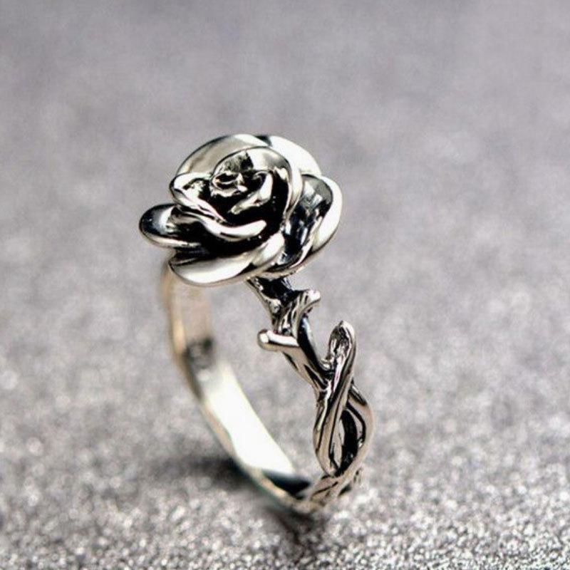Sweet Flower Antique Silve Finger Rings Elegant Carved Rose Flower Ring Cute Jewerly For Girl Women COD