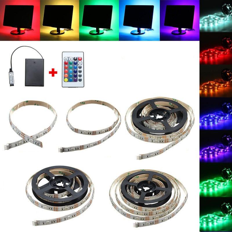 fb3979356158 30/50/100/150/200CM 5050 RGB LED Flexible Strip Light + Remote Battery  Powered Party Home Decor DC5V COD