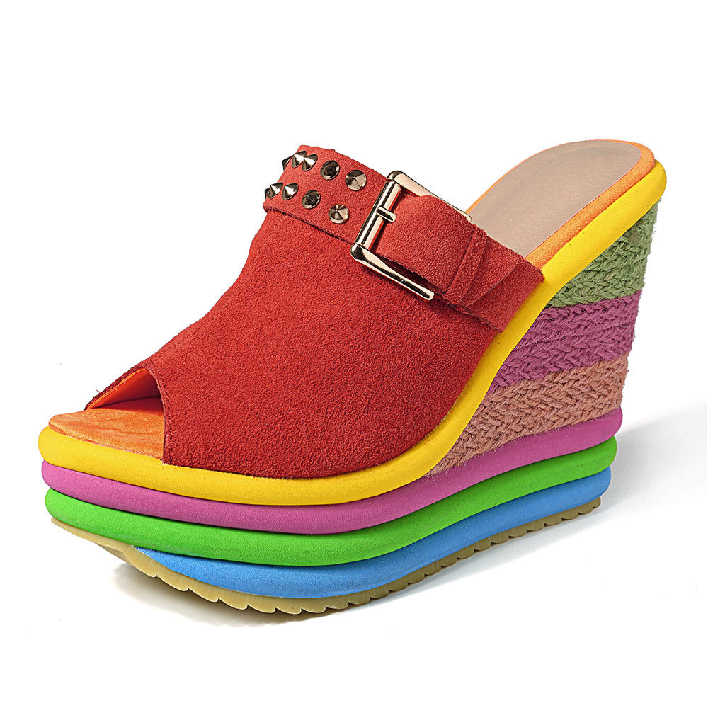 9ea3f6000 bohemian fish mouth rainbow beach casual sandals at Banggood