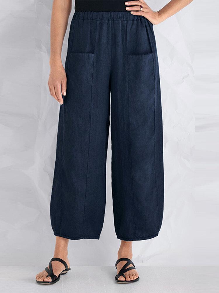 S-5XL Women Casual Loose Elastic Waist Pants